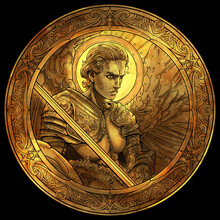 A Gold Coin With The Image Of A Handsome Male Angel With A Shield And Sword In Plate Armor But With An Open Torso, With A Pattern On The Squares, It Glitters Beautifully On A Black Background. 2d