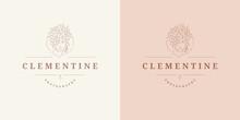 Beauty Female Portrait With Floral Decor Logo Emblem Design Template Vector Illustration In Minimal Line Art Style
