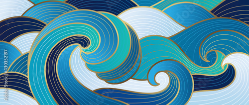 Navy blue Gold abstract wave line arts background vector. Luxury wall paper design for prints, wall arts and home decoration, cover and packaging design.