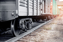 Concept Large Transport Of Goods By Rail, Railway Engine Of Freight Locomotive Sunset