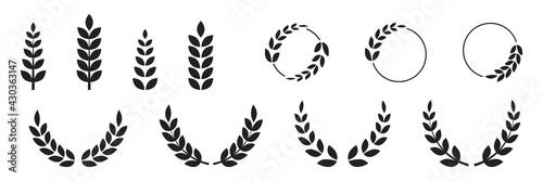 Obraz na plátně Foliate laurels branches set
