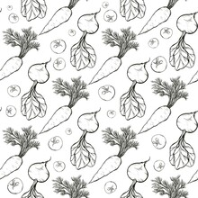 Seamless Pattern Of Line Art Vegetables