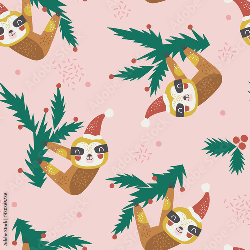 Fototapeta premium Merry Christmas sloth hanging on fir tree branch vector seamless pattern. Funny decorative party animal background. Holly Xmas print design for kids.