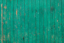 Wooden Boards With Old Green Paint Close-up.