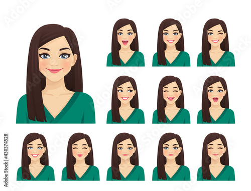 Young beautiful woman avatar with different facial expressions set isolated vector illustration