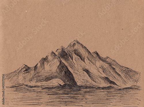 Fototapeta Hand drawn illustration with alpine mountains on vintage paper