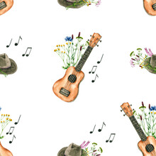 Seamless Pattern With Watercolor Flowers, Ukulele, Hat, Notes. Hand Drawn Illustration Is Isolated On White. Music Ornament Is Perfect For Musician Design, Linens, Wallpaper, Fabric Textile