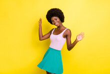 Photo Of Dark Skin Charming Young Woman Raise Hands Wear Summer Outfit Nice Smile Isolated On Yellow Color Background