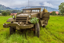 The M5 Half-track (officially The Carrier, Personnel, Half-track, M5)  American Armored Personnel Carrier In Use During World War II. Reconnaissance And Transport Vehicle