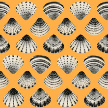 Seashells Pattern On A Yellow Background. Colorful Wallpaper Print In Modern Style. Home Decor Tropical Texture. Seamless Fabric Design. Wild Ocean Nature. Hand-drawn Elements