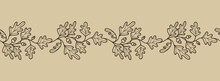 Horizontal Banner With Acorns And Oak Leaves. Decorative Seamless Border With Plant Elements. Elegant Botanical Pattern For Invitations, Greetings, Cards, Covers, Packaging, Posters. Vector
