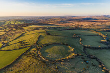 Aerial View Of Bury Castle, Iron Age Hill Fort, Cardinham, Cornwall, United Kingdom.