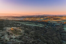 Aerial View Of Millpool Countryside At Sunset, Bodmin Moor, Cornwall, United Kingdom.
