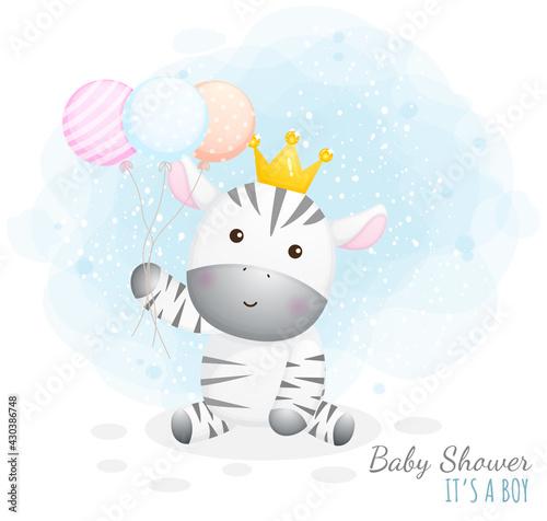 Fototapeta premium Baby shower it's a boy. Cute baby zebra holding balloons Premium Vector