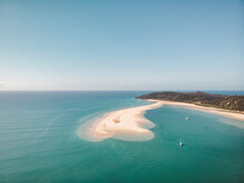 Aerial View Of A Sand Bank With Two Sailing Boats Anchored In The Water, Double Island Point, Queensland, Australia.