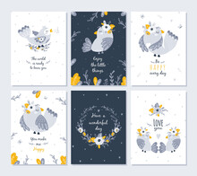 Set Of Cards With Cute Birds And Flowers. Vector Illustration