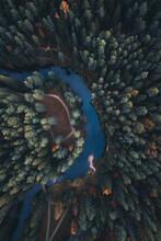 Aerial View Of Ahja River And Taevaskoja Shrine In Autumn, Põlvamaa, Estonia.