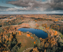 Aerial View Of Sibulajärv Lake With Dramatic Clouds In Fall Season, Karula National Park, Võrumaa, Estonia.