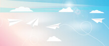 Paper Plane Flying In Blue Sky. Pattern Mockup Design Vector Illustration. Airplanes Made As Origami From Paper. White Airplanes On Pattern Layout. Aircrafts Fly Between Clouds And Light In Sky