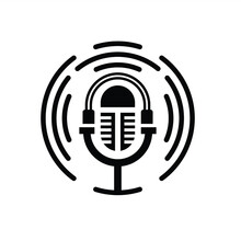 Illustration Vector Graphic Of Microphone Logo, Fit For Broadcast, Podcast, Radio Etc.