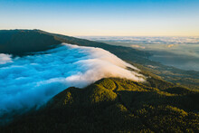 Aerial View Of La Palma Island Nature Landscape Early In The Morning With Santa Cruz In Background At Sunrise, Canary Islands, Spain.