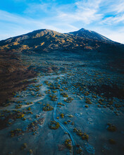 Aerial View Of Mount Teide Valley In Early Morning In Tenerife Island, Canary Islands, Spain.