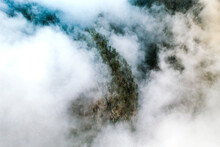 Aerial View Of Mountain Rock Covered With Clouds In La Palma Near El Paso, Canary Islands, Spain.