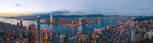 Hong Kong - 06 August 2020: Panoramic Aerial View Of Hong Kong Skyline Over Victoria Harbour At Sunset, Central And Western District, Hong Kong.
