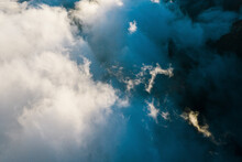Aerial View Of Clouds In Sunlights In La Palma Island Near El Paso, Canary Islands, Spain.