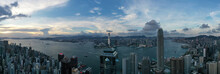 Hong Kong - 06 August 2020: Panoramic Aerial View Of Hong Kong Downtown Skyline At Sunset With Kowloon Bay In Background, Central, Hong Kong Island, Central And Western District, Hong Kong.