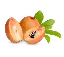 Fresh Sapodilla With Leaves Isolated On White Background