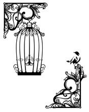Antique Style Page Corner Decor Element With Open Bird Cage - Black And White Vector Outline Graphic Set For Secret Garden Concept