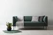 Leinwandbild Motiv Stylish living room interior with comfortable green sofa and beautiful plant