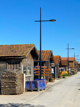Wooden Oyster Huts Of The Port Of La Teste De Buch, Typical Of The Arcachon Bay, France
