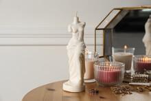Beautiful Venus De Milo Candle On Wooden Table. Stylish Decor