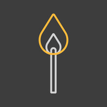 Burning Match Vector Icon On Dark Background