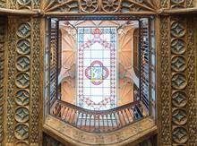 Portugal, Porto, Livraria Lello Ornate Ceiling