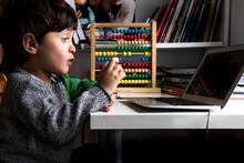 UK, Boy Looking At Laptop At Home
