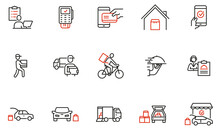 Vector Set Of Linear Icons Related To Express Delivery Process, Delivery Home, Contactless And Order Curbside Pickup Online. Mono Line Pictograms And Infographics Design Elements