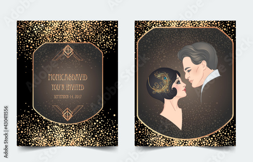 Obraz Beautiful couple in art deco style. Retro fashion: glamour man and woman of twenties. Vector illustration. Flapper 20's style. Vintage party or thematic wedding invitation design template. - fototapety do salonu