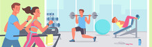 People Doing Sports Workout In Gym Vector Illustration. Cartoon Active Young Sportive Woman Man Characters Run On Treadmill Machine, Bodybuilder Training Muscles In Gymnasium Interior Background.