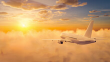 Passengers Commercial Airplane Flying Above Clouds In Sunset Light. 3D Rendering Illustration.