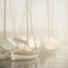 Elegant And Modern Yachts, Sailing And Fishing Boats, Small Ships Moored Ti A Pier In A Thick Fog. Landmarks, Sightseeing, Old Harbor, History, Past. Sepia Image Effect. Germaniahafen, Kiel, Germany