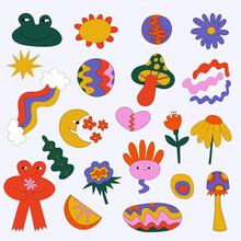 Vector Hippie Stickers From The 60s And 70s - Flowers, Monsters, Shapes, Abstraction.Summer Groove And Funky.Abstract Forms Are Common For Tattoo.Retro Vibes Festival.Hearts, Peace And Love.Hand Drawn