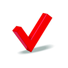 Red Check Mark Symbol Isolated On A White Background. 3d Rendering