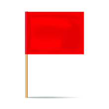 Red Desktop Flag Icon Isolated On A White Background. 3d Rendering
