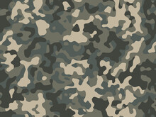 Camouflage Green Forest Pattern, Seamless Background. Military Camo Print Texture. Vector Wallpaper