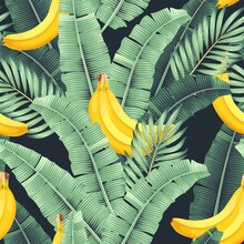 Vector Seamless Pattern With Banana And Leaves