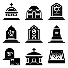 Funeral Related Vector Icon Set 2, Solid Style
