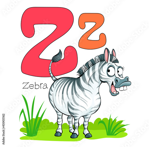 Fototapeta premium Vector illustration. Alphabet with animals. Large capital letter Z with a picture of a bright, cute zebra.
